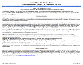 2010 Town of Alma Drinking Water Consumer Confidence Report