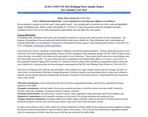 2012 Town of Alma Drinking Water Consumer Confidence Report