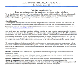 2014 Town of Alma Drinking Water Consumer Confidence Report