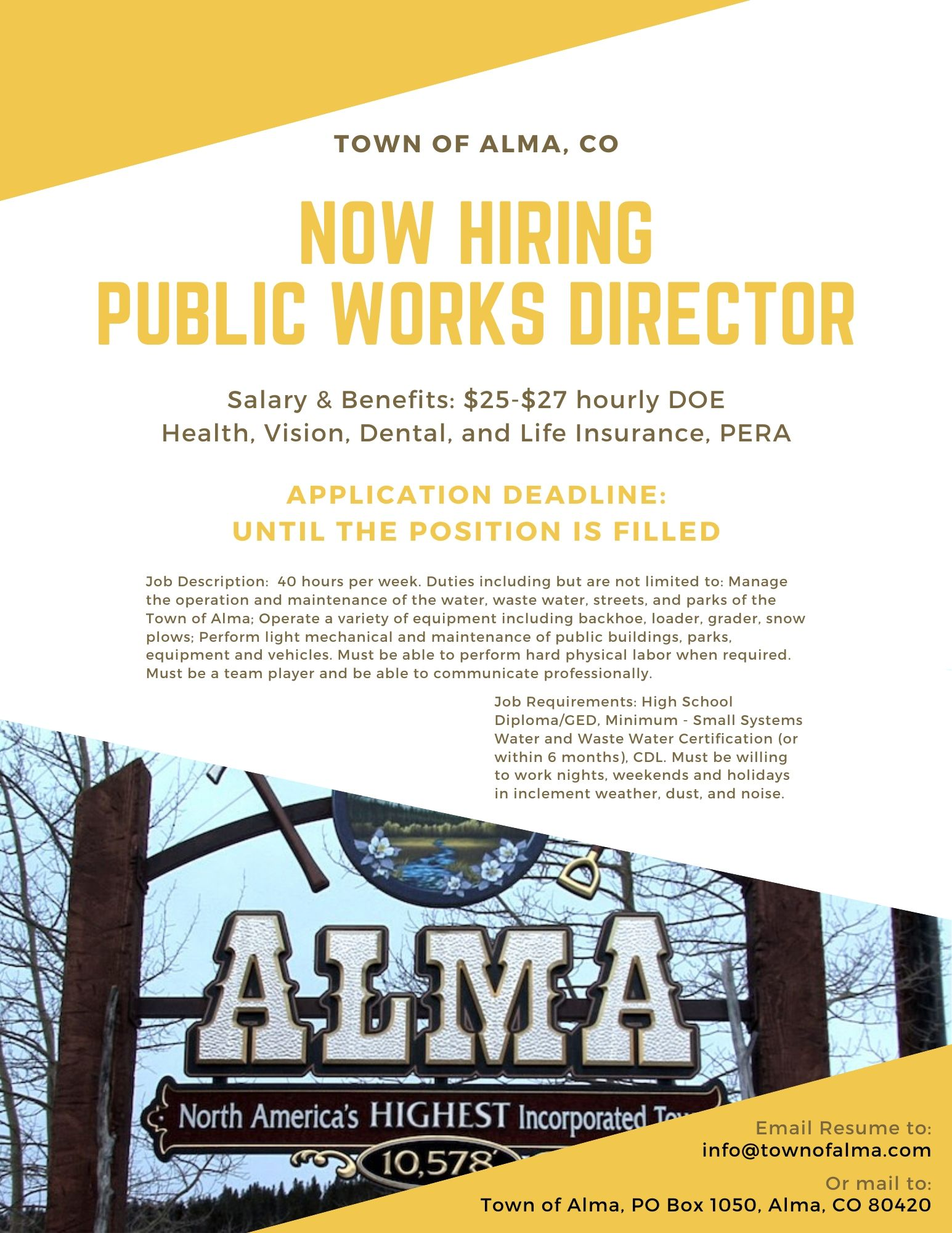 TOA Hiring Public Works Director