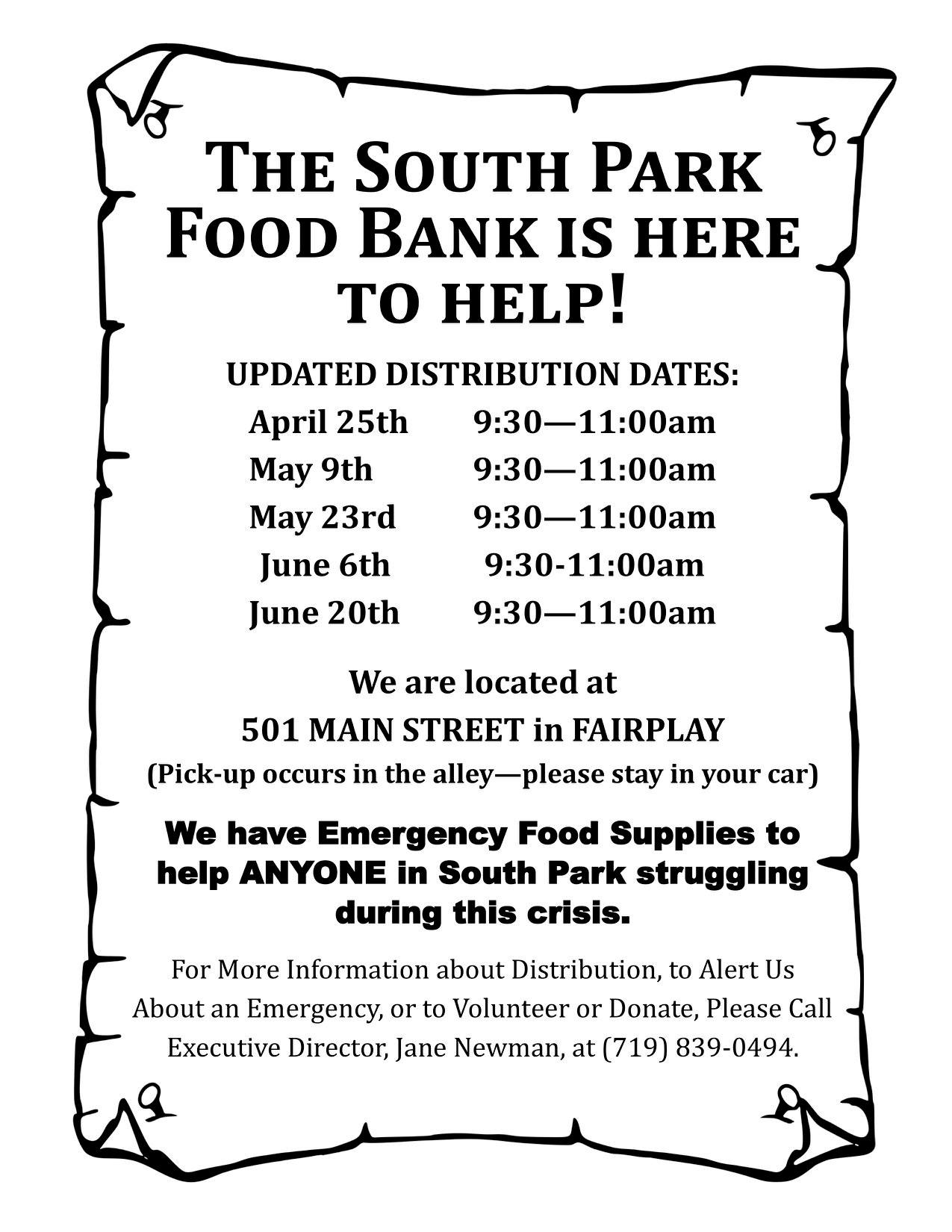 Food Bank Hours May-June 2020